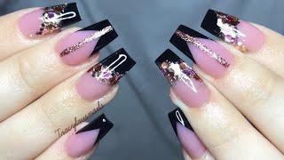 Acrylic Nail Tutorial | Black Chevron Nails With Glitter