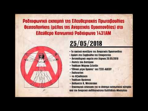 5η εκπομπή της Ελευθεριακής Πρωτοβουλίας Θεσσαλονίκης στο 1431ΑΜ, 25/5/2018