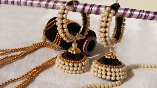 making of ring model silk thread jhumkas with pearl video #tutorials