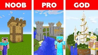 Minecraft NOOB vs PRO vs GOD : CASTLE BASE CHALLENGE in minecraft / Animation