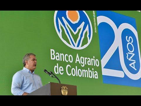 Presidente Iván Duque durante la celebración de los 20 años del Banco Agrario