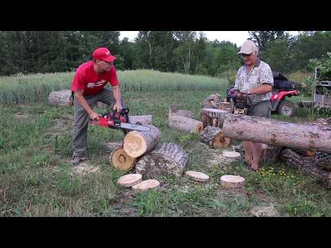 Milwaukee electric VS Stihl gas 49cc chainsaw  HEAD to HEAD