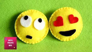 Emoji Felt Crafts - DIY :  How To Make Miniature Felt Emoji / Felt Crafts.