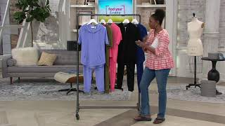 Denim & Co. Active Knit Terry Half Zip Top w/ Jogger Pants on QVC