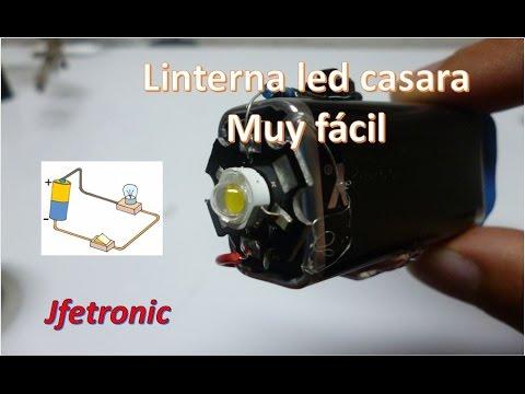 Como hacer una linterna casera led de 3W. Muy fácil de hacer !!