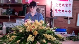A peek inside the flower barn as I make a casket spray...
