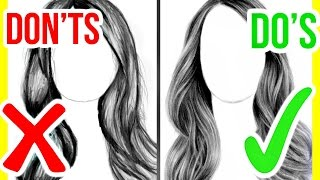 DOS & DONTS: How To Draw Realistic Hair | Step By Step Drawing Tutorial