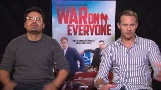 Interview Alexander Skarsgard & Michael Pena for WAR ON EVERYONE + being cops + TRUE BLOOD ending