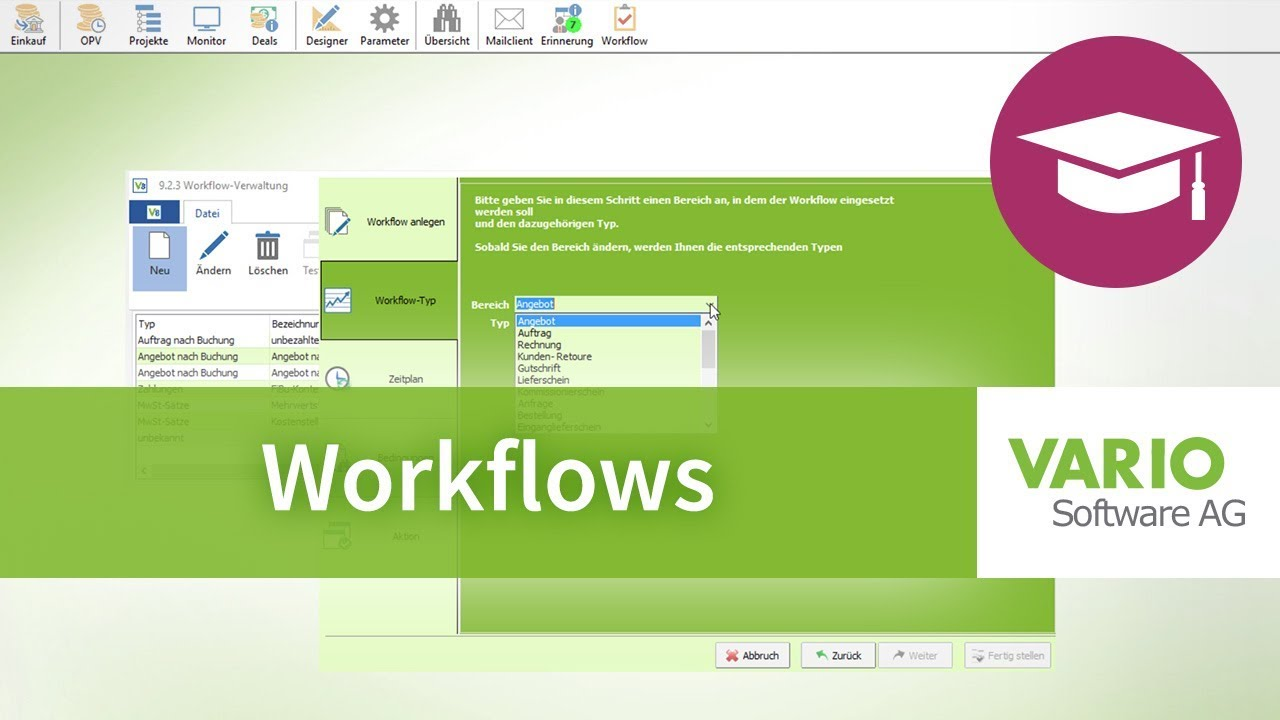 Workflows in VARIO 8