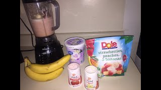 How To Make Smoothies: Frozen Fruit Smoothies: Dole Strawberries Peaches And Bananas: Easy Smoothie