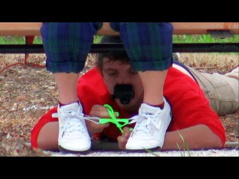 Tying Peoples Shoes Prank