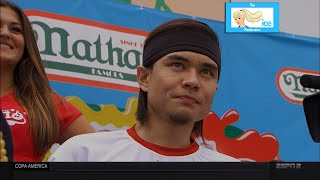 Matt Stonie Upsets Joey Chestnut at 2015 Nathan's Hot Dog Eating Contest   LIVE 7-4-15