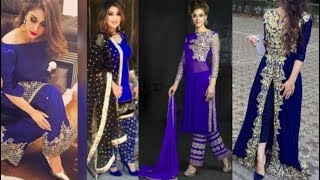 Beautiful Trending Blue Dresses Collection/Latest Navy Blue Color Dress Design