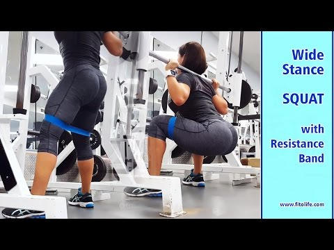 Wide Stance Squat with Resistance Band (Smith Machine)
