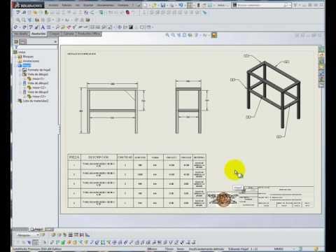 Solidworks  estructural con lista de materiales