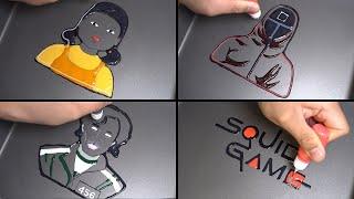 Squid game Pancake art - Logo, Robot girl, 456 player, square mask