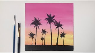 Acrylic Painting For Beginners | Sunset Acrylic Painting On Canvas Step By Step