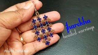⚜️ Jharokha, Beaded Earrings    DIY Seed Bead Earrings/ Aretes Tutorial (0237)
