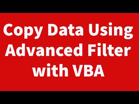 Copy Data Using Advanced Filter with VBA