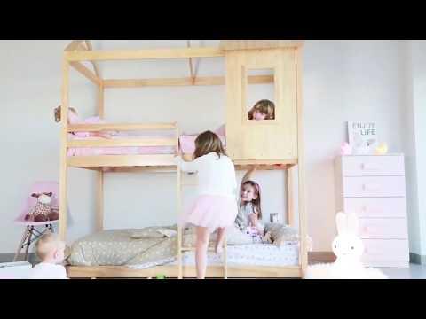 Litera cama infantil con forma de casa