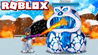 FIGHTING A 999,999,999 POWER ICE BOSS IN ROBLOX