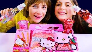 ASMR HELLO KITTY CANDY PARTY (TRYING JAPANESE SNACKS)  리얼사운드 먹방 お菓子 | LiLiBu ASMR