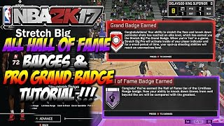 NBA 2K17 All Stretch Big Hall Of Fame Badges & Pro Grand Master Badge Tutorial How To Get Easy