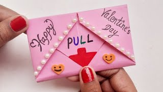 DIY-Pull Tab Origami Envelope Card || Letter Folding Origami || Valentine's Day Card | Greeting Card
