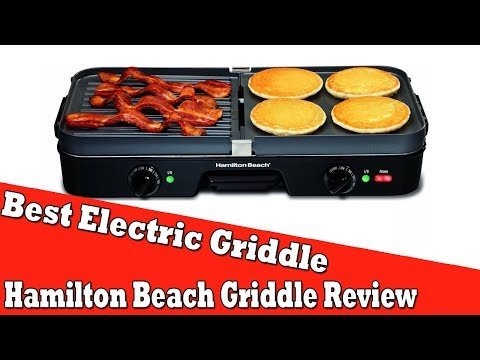 , Hamiton Beach (25600) Electric Smokeless Indoor Grill & Electric Griddle Combo with Bacon Cooker & Removable Plates