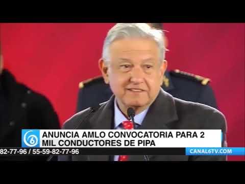 El Presidente Andrés Manuel solicita dos mil conductores para manejar pipas.