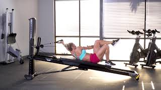 Oblique Pullover Crunch with Alternating Leg Lift (Single Arm)