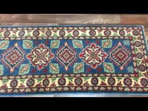 Blue and Red Fine Pakistan Kazak Oriental Runner Rug 2'X5'10 - AT 1033