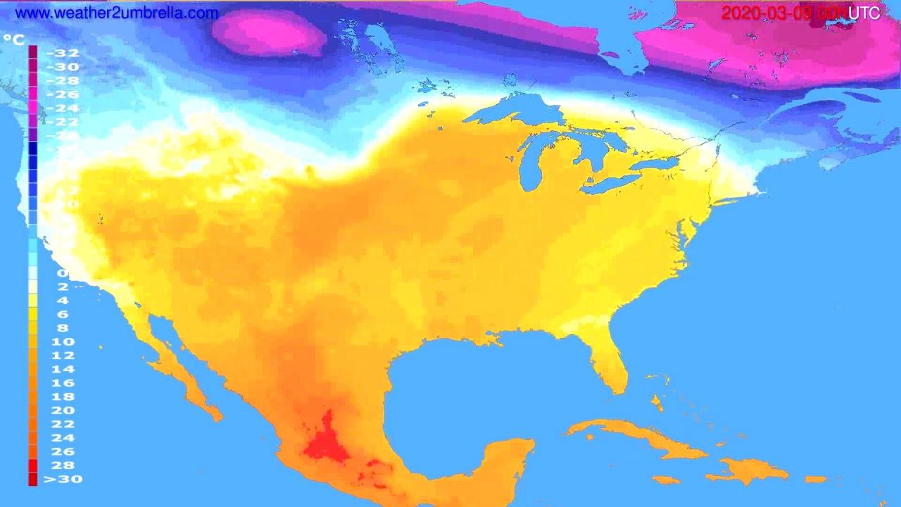 Temperature forecast USA & Canada // modelrun: 00h UTC 2020-03-08