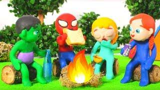 SUPERHERO BABIES GO CAMPING  ❤ Spiderman, Hulk & Frozen Play Doh Cartoons For Kids