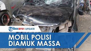 Naik Mobil Ugal-ugalan sampai Serempet Pemotor, Oknum Polisi Diamuk Massa, Kendaraannya Hancur