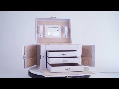 Leder Schmuckkoffer mit Spiegel in schwarz und weiß für individuelle Herstellung - Begabeauty.de