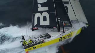 VOR: What a record-breaking run looks like from Sam Greenfield's drone in 30+ knots of breeze