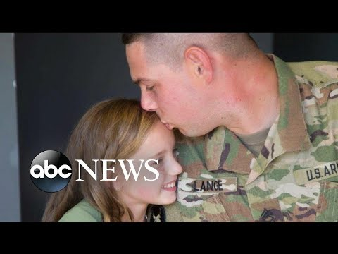 Military dad and unit learns cheerleading routine for daughter