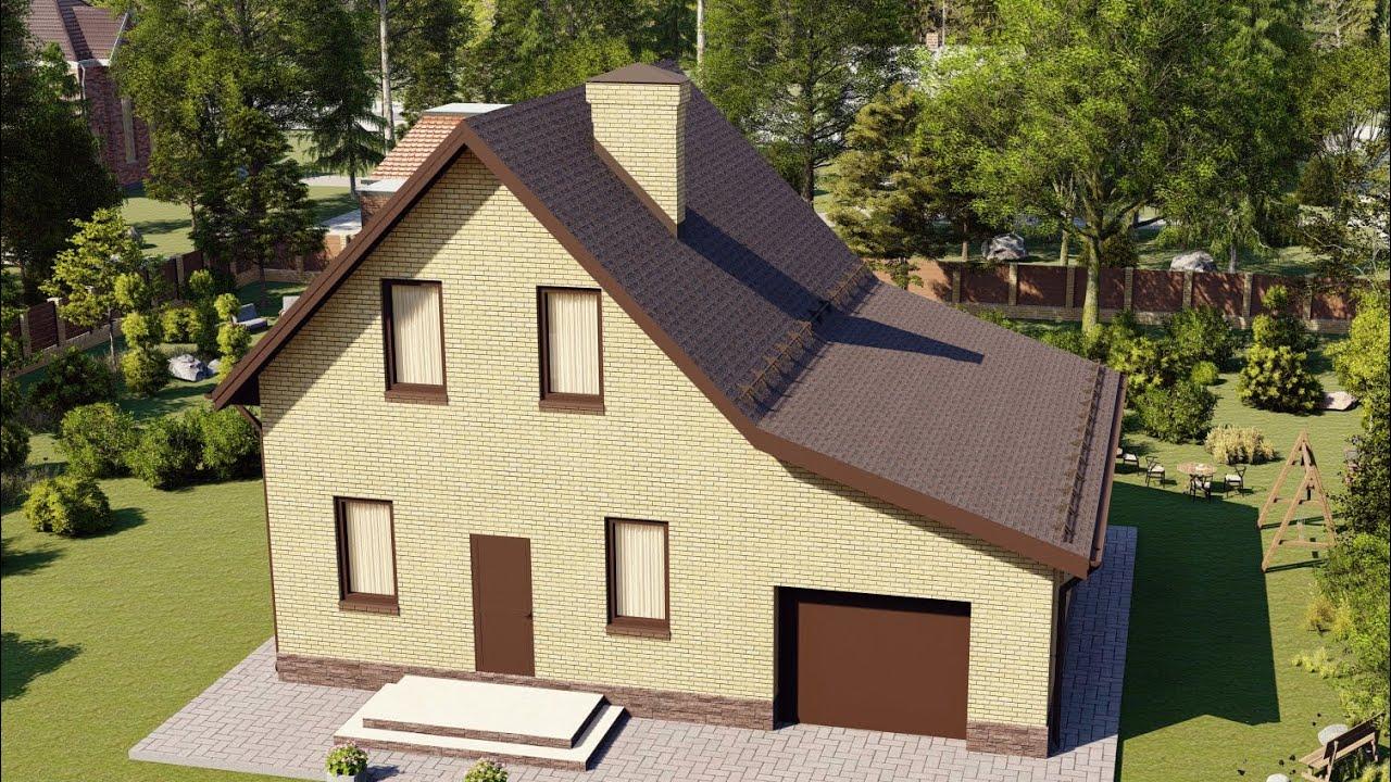 Проект небольшого мансардного дома с гаражом 115 кв м