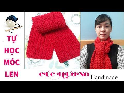 Hướng dẫn móc khăn choàng cổ mẫu trái tim siêu đẹp. Wool scarf crochet tutorial.