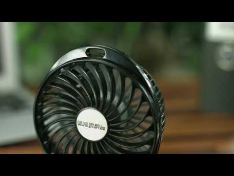 PEARL 2in1-USB-Akku-Tisch-Ventilator mit LED-Leuchte, 1.300 mAh