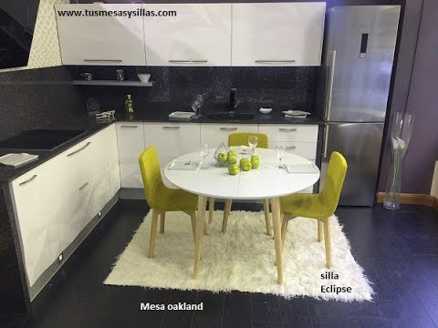 mesa redonda extensible Oakland de estilo nórdico