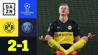 Borussia Dortmund empfängt Thomas Tuchel und PSG zum Achtelfinal-Hinspiel in der Königsklasse. Der BVB erspielt sich in der ersten Hälfte viele Chancen, doch kann keine davon nutzen. In der zweiten Halbzeit macht PSG Druck, doch Haaland macht den erlösenden Treffer für die Schwarz-gelben. PSG braucht nicht lange, um durch Neymar den Ausgleich zu erzielen, doch es ist erneut Haaland, der sein Königsklassen-Debüt für Dortmund mit dem Siegtreffer vergoldet.   ►Sichere dir deinen Gratismonat: https://bit.ly/2MY3pxi ►Alle Infos zur UEFA Champions League: https://bit.ly/2GD8lqf ►Das Programm von DAZN: http://bit.ly/2uFkulD ►DAZN auch auf Facebook: https://bit.ly/2lUGipo  +++ Die besten Fußball Highlights aus allen Wettbewerben auf YouTube +++ ►DAZN UEFA Champions League auf YouTube abonnieren: https://bit.ly/2WL75qD  ►DAZN UEFA Europa League auf YouTube abonnieren: https://bit.ly/2DTc8yb  ►DAZN Bundesliga auf YouTube abonnieren: https://bit.ly/2Daw8dS  ►DAZN Länderspiele auf YouTube abonnieren: https://bit.ly/2XAYNSd ►Goal auf YouTube abonnieren: https://bit.ly/2Bk4H0Y   +++ Die besten Sport Highlights auf YouTube +++ ►DAZN Tennis auf YouTube abonnieren: https://bit.ly/2DblEuK  ►DAZN Darts auf YouTube abonnieren: https://bit.ly/2ScVbqU    ►SPOX auf YouTube abonnieren: https://bit.ly/2MPaQqI   Erlebe tausende Sportevents in HD-Qualität auf allen Geräten. Auf DAZN gibt's europäischen Top-Fußball mit UEFA Champions League, UEFA Europa League, Premier League, Bundesliga-Highlights, La Liga, der Serie A und Ligue 1 sowie den besten US-Sport aus NFL, NBA, MLB und NHL. Dazu: Fight Sports, Darts, Tennis, Hockey und vieles mehr - wann und wo du willst.   ERLEBE DEINEN SPORT LIVE UND AUF ABRUF. AUF ALLEN GERÄTEN.   +++ Über DAZN +++   DAZN ist ein Livesport-Streamingdienst, der es Fans erlaubt, Sport so zu erleben, wie sie es möchten. Egal ob live zu Hause, unterwegs, zeitversetzt oder im Rückblick, DAZN bietet über 8.000 Sportübertragungen pro Jahr und beinhaltet damit das umfangr