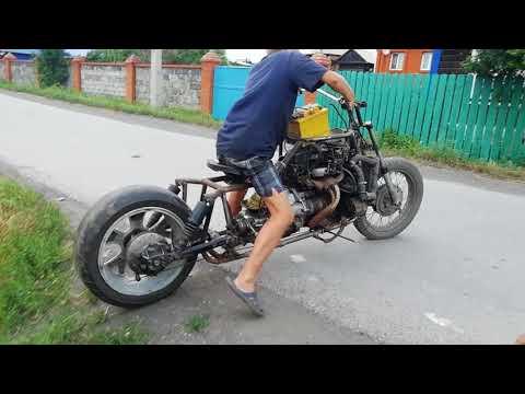 Мотоцикл с двигателем от ваз 2106 пробный выезд
