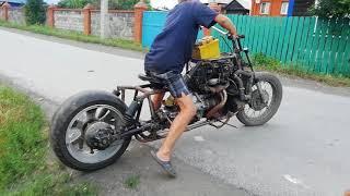 Мотоцикл с двигателем от ваз 2106 пробный выезд!