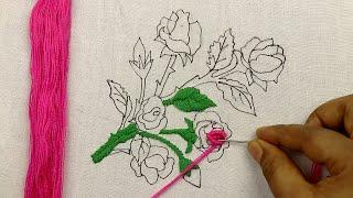 Brazilian Embroidery: Amazing Rose Flower Embroidery Design Using Bullion Knots