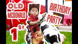 GREYSONS FIRST BIRTHDAY PARTY   DIY ANIMAL FARM OLD MACDONALD COWBOY