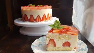 КЛУБНИЧНЫЙ ТОРТ ФРЕЗЬЕ🍓крем дипломат(БЕЗ МАСЛА)🍓 Frasier cake recipe