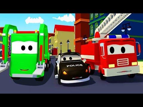 Мусоровоз и Авто Патруль: пожарная машина и полицейская машина | мультик для детей на русском