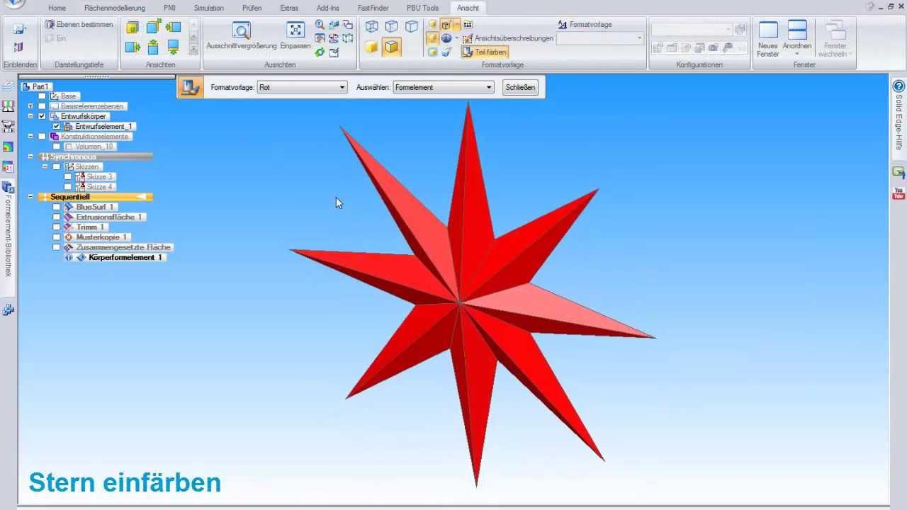 Vorschaubild: Solid Edge Tutorial: Konstruktion eines Weihnachtssterns